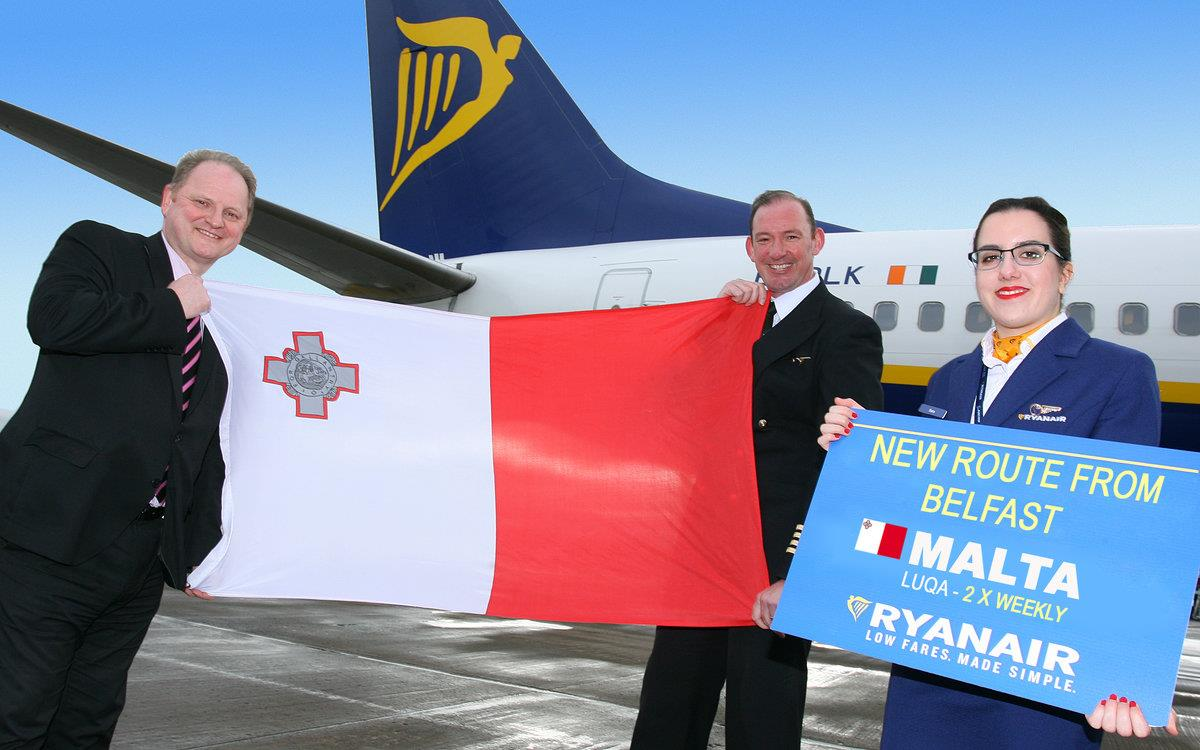 Ryanair launches Malta from Belfast