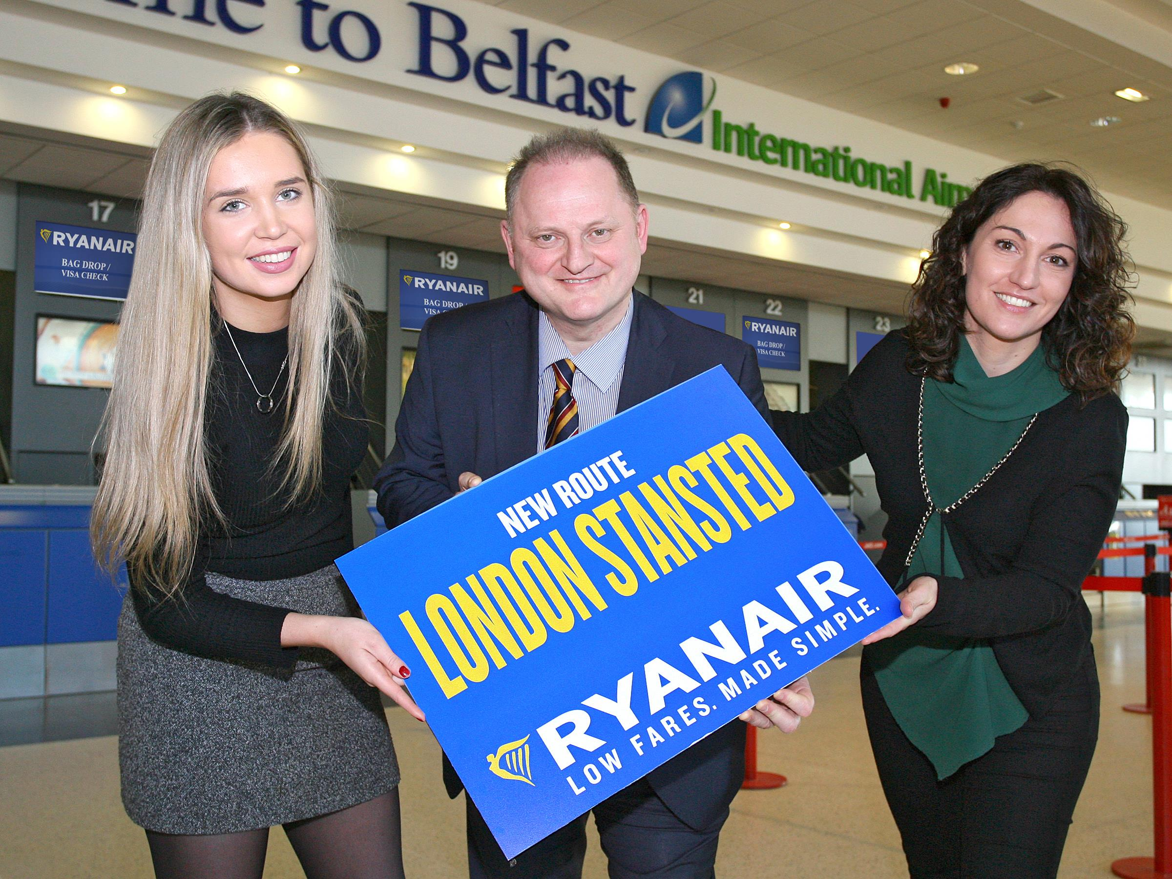 RYANAIR'S FIRST BELFAST FLIGHT TO LONDON STANSTED TAKES OFF