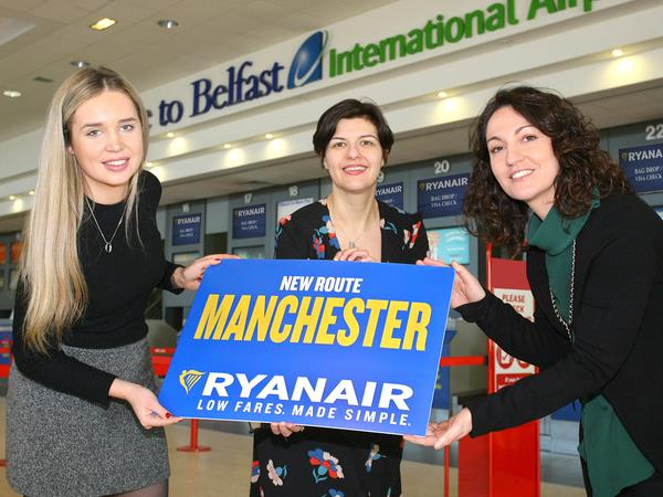 RYANAIR'S FIRST BELFAST TO MANCHESTER FLIGHT TAKES OFF