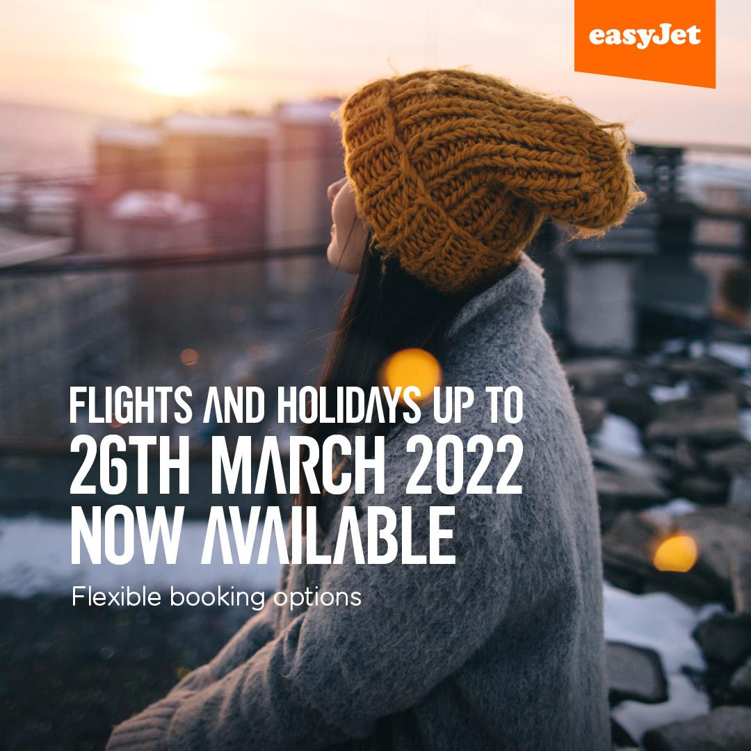 easyJet puts winter 2022 on sale early offering thousands of flights from Belfast until 26th March 2022 to top destinations across Europe